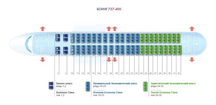 Схема салона Боинг 737-400