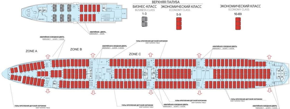 Схема салона Boeing 747-400 Аэрофлот