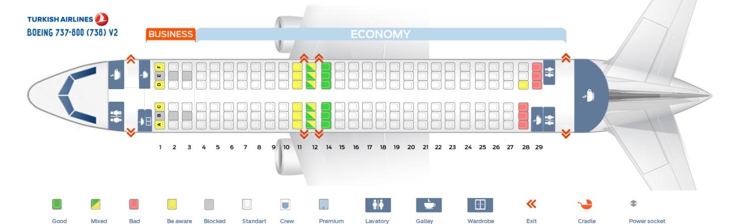 Схема самолета Боинг 737-800