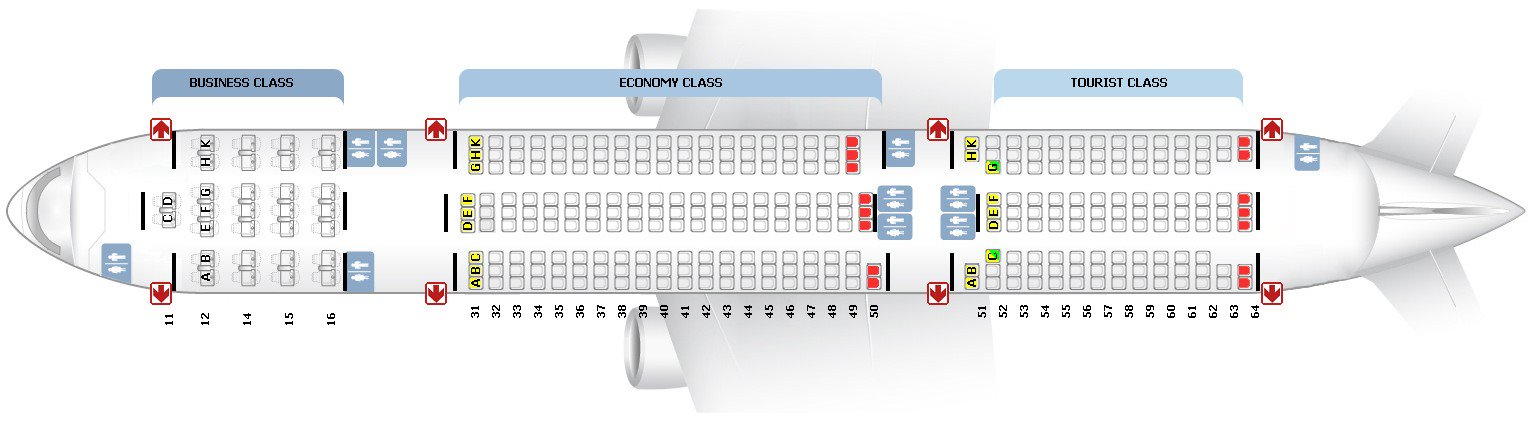Схема салона Boeing 777-200 ВИМ-Авиа
