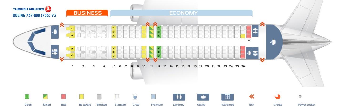 Схема самолета Boeing 737-800Турецкие авиалинии