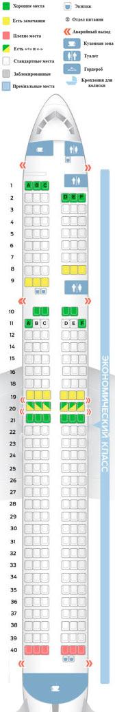 Схема салона Боинг 757-200 Вим-Авиа