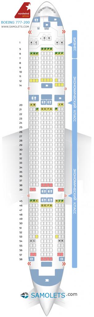 Схема салона Boeing 777-200 Nordwind