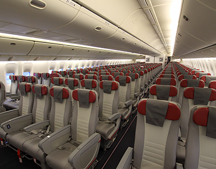 Салон «комфорт» на самолете Boeing 777-200ER