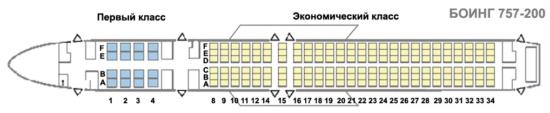 Боинг 757-200 схема салона с первым классом