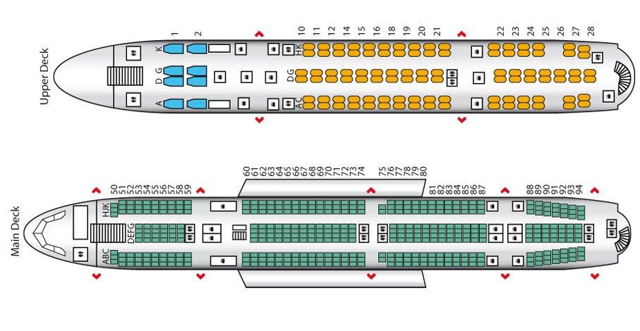 Cхема салона Airbus А380-800