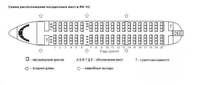 Схема салона Як-42