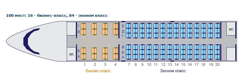 Схема салона Як-42 на два класса