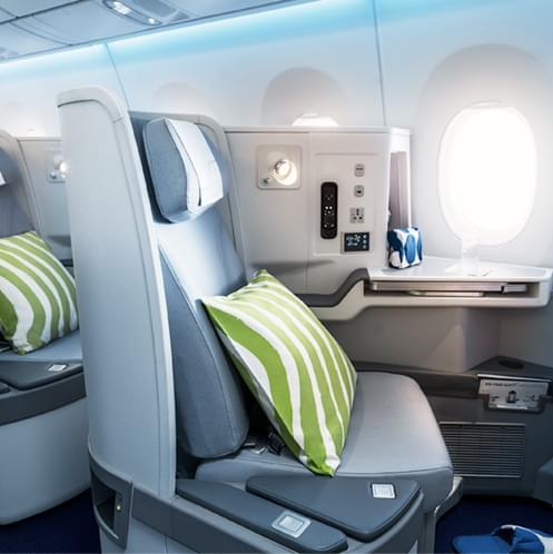 Кресла в бизнес-салоне на интерконтинентальных рейсах