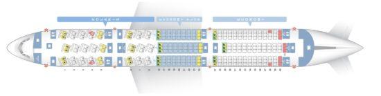 Схема салона Dreamliner на United Airlines