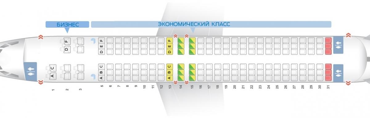Схема салона 737-800 на 170 мест
