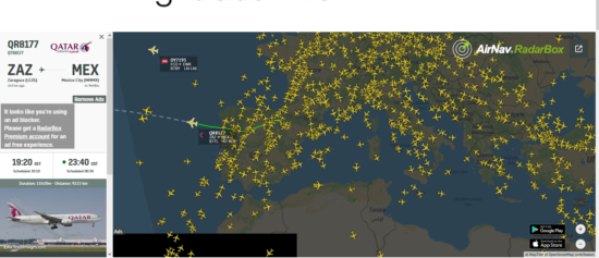 Карта с маршрутами самолетов онлайн